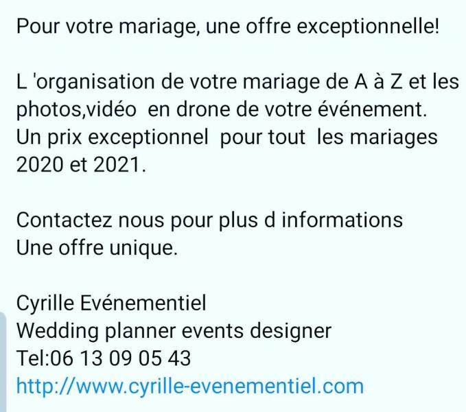 Offre wedding planner/ photos plus vidéo